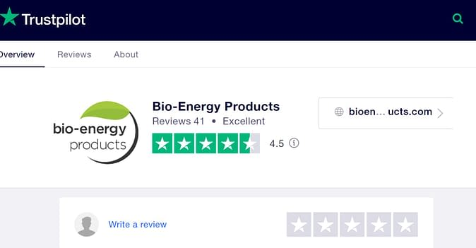 Trustpilot rating for BioEnergy Products, 4.5 stars out of 5