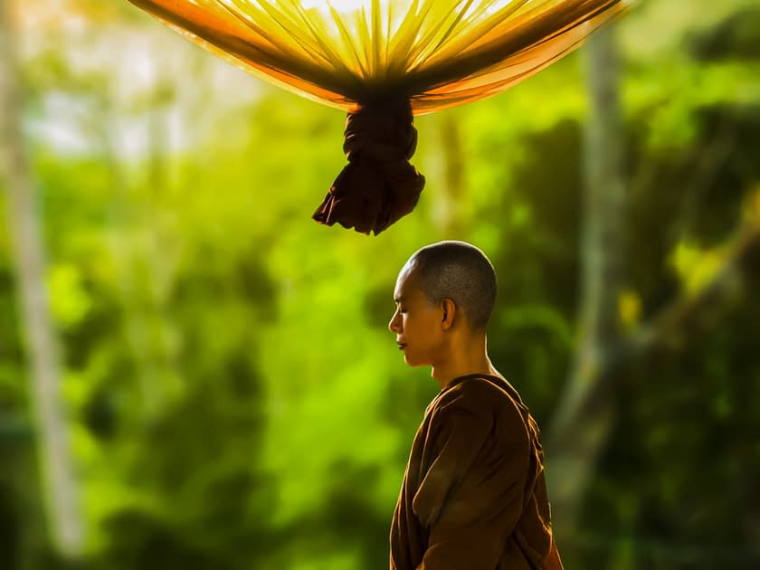 a bhuddist monk meditating