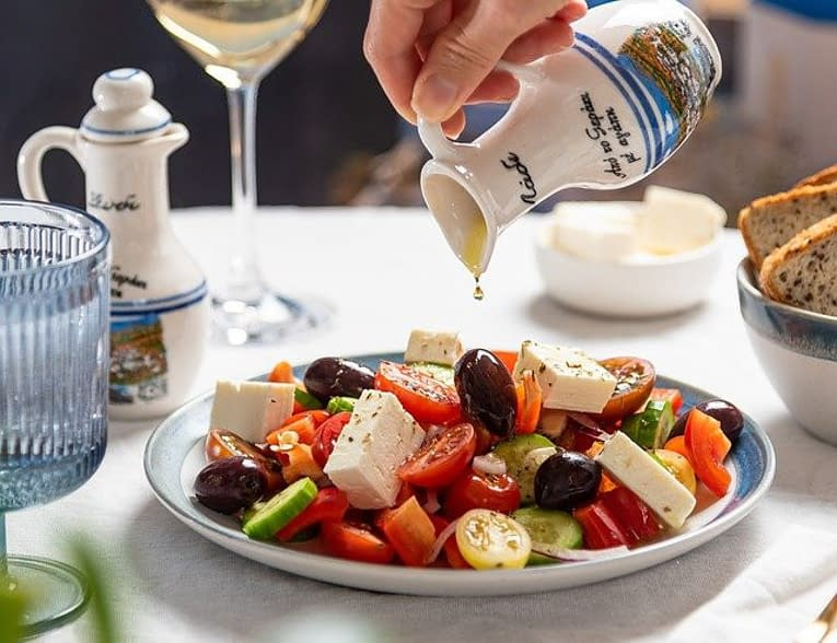 a greek salade with black olives