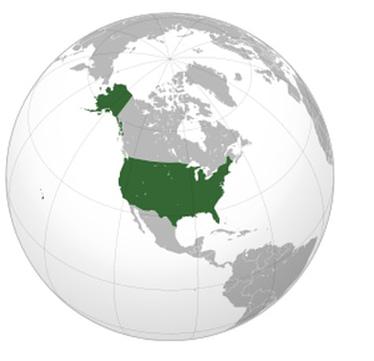A globe, United States
