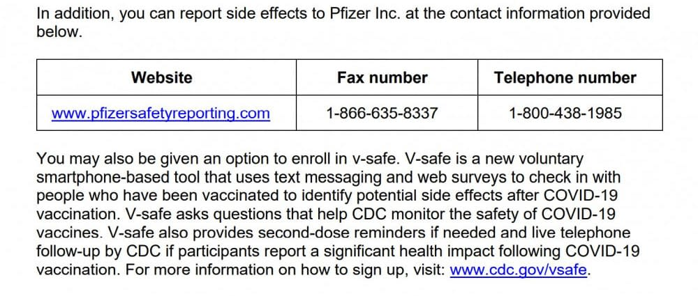 telephone number to report side effects of the vaccines