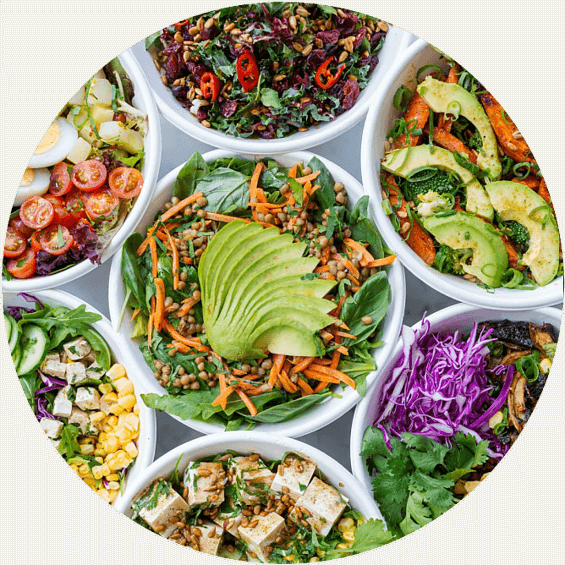 bowls withs different salads