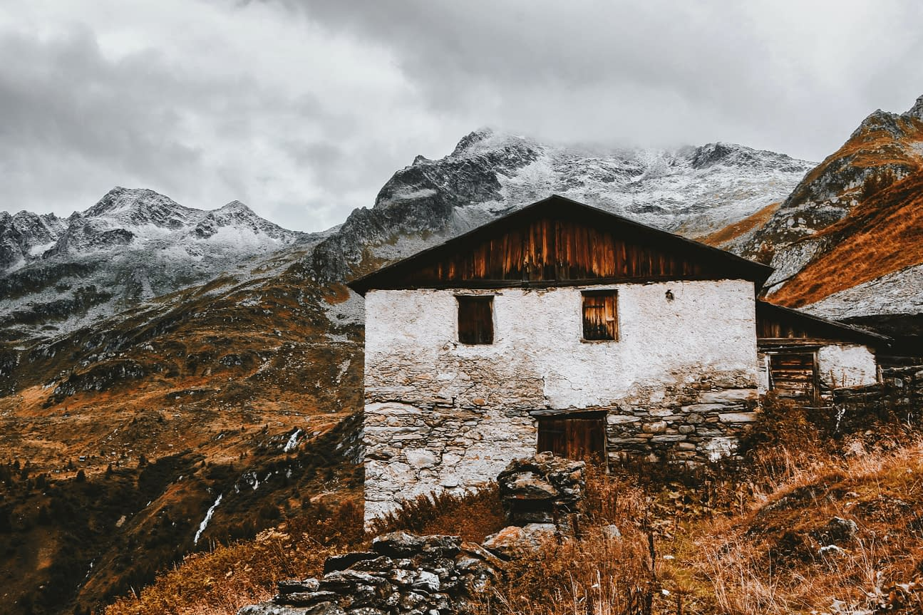 a house in the mountains, cold and wet